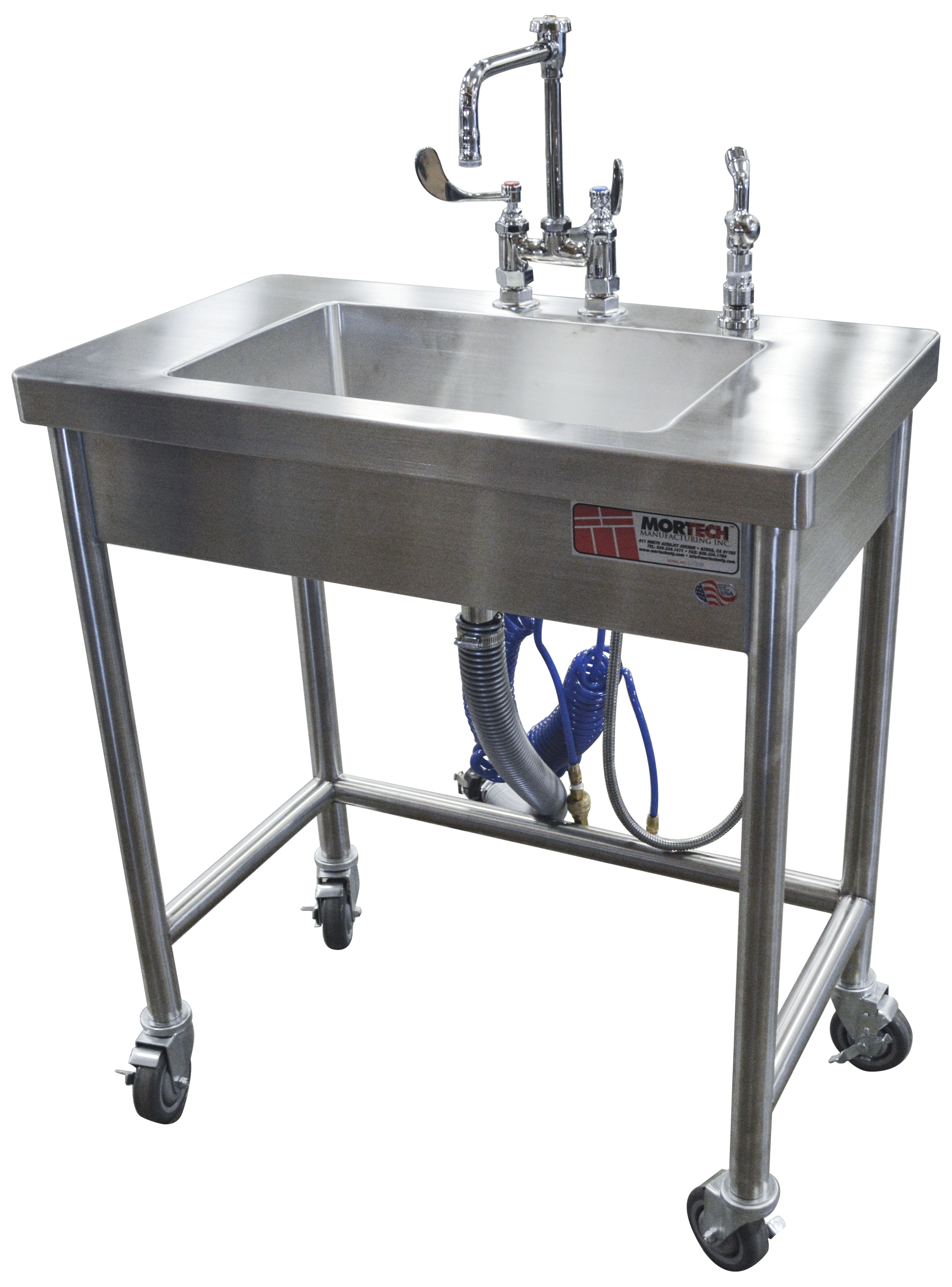 Mobile Wash Station-Sink Station-Mortech Manufacturing Company Inc. Quality Stainless Steel Autopsy, Morgue, Funeral Home, Necropsy, Veterinary / Anatomy, Dissection Equipment and Accessories