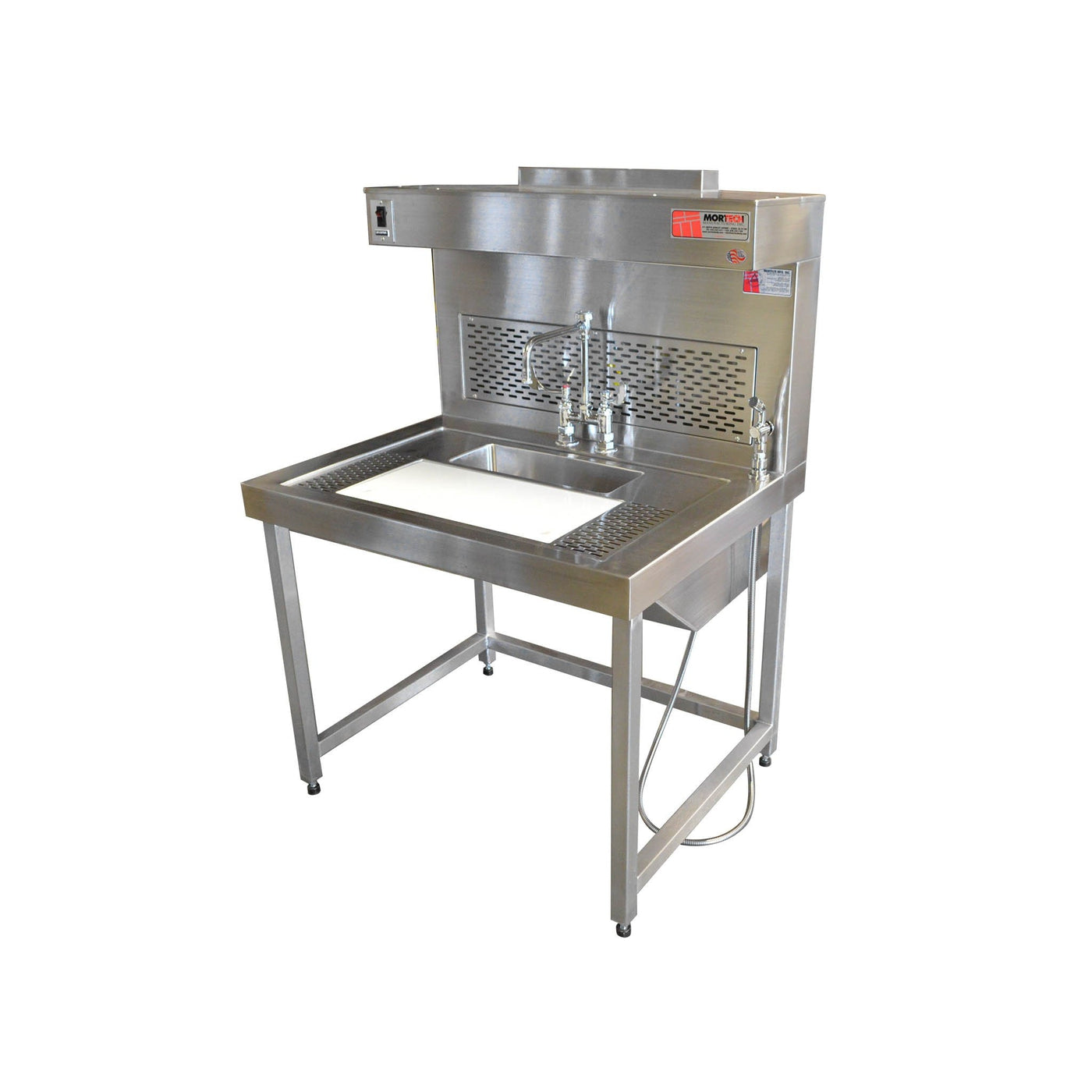 Dual-Draft Pathology Workstation-Pathology Grossing Stations-Mortech Manufacturing Company Inc. Quality Stainless Steel Autopsy, Morgue, Funeral Home, Necropsy, Veterinary / Anatomy, Dissection Equipment and Accessories