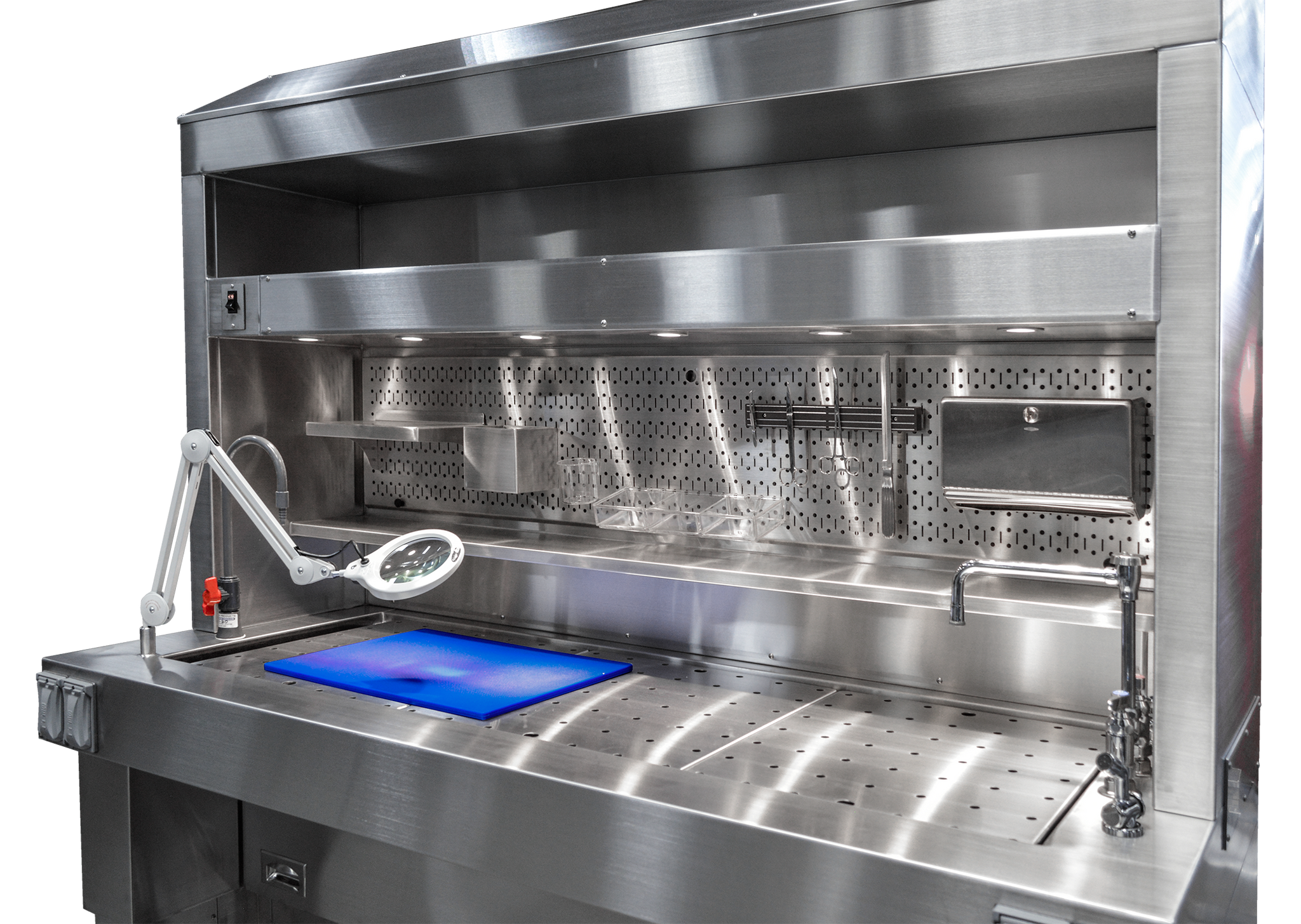 Pegboard Backsplash - Elevating Pathology Workstation with Downdraft & Backdraft Ventilation