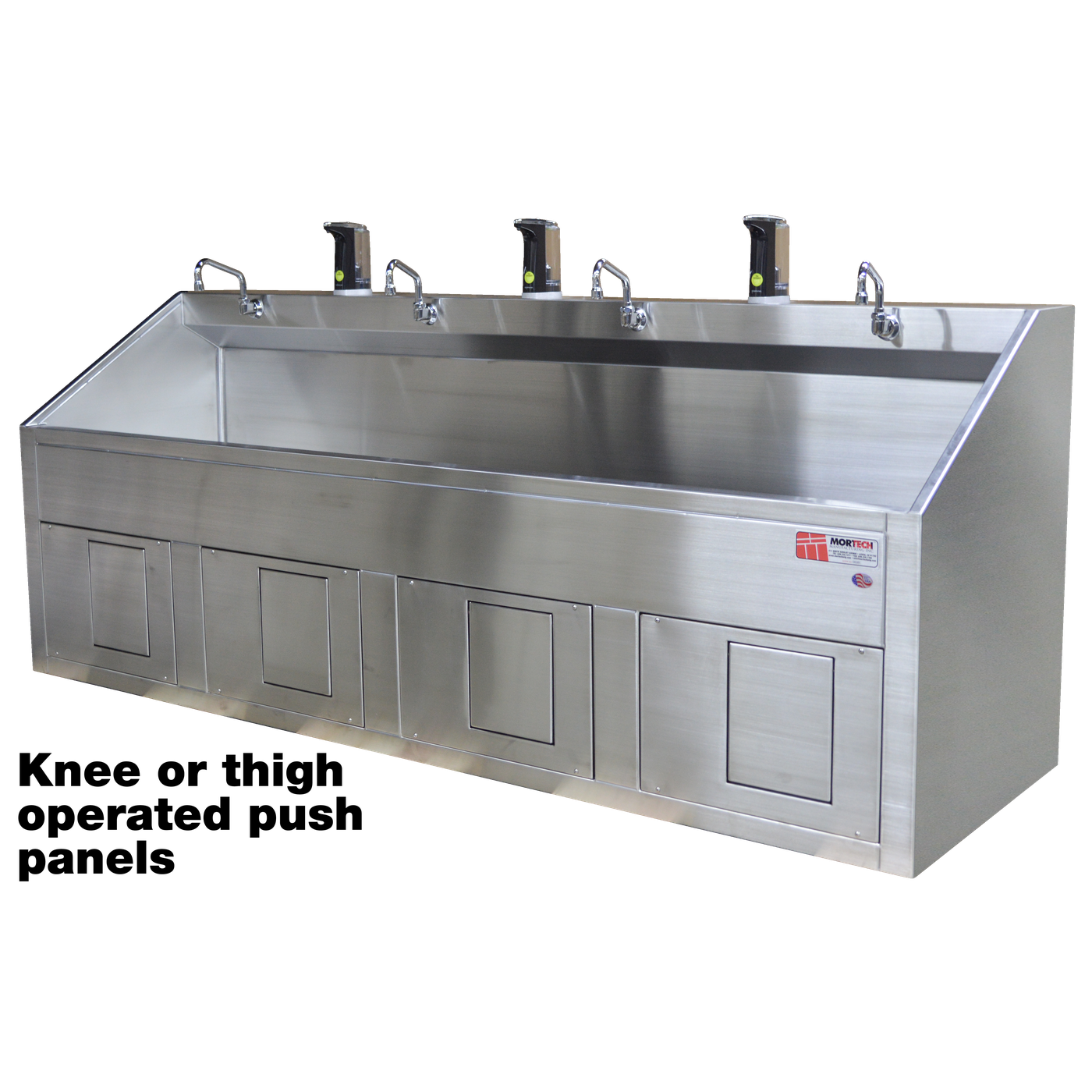 Quadruple Scrub Station-Sink Station-Mortech Manufacturing Company Inc. Quality Stainless Steel Autopsy, Morgue, Funeral Home, Necropsy, Veterinary / Anatomy, Dissection Equipment and Accessories