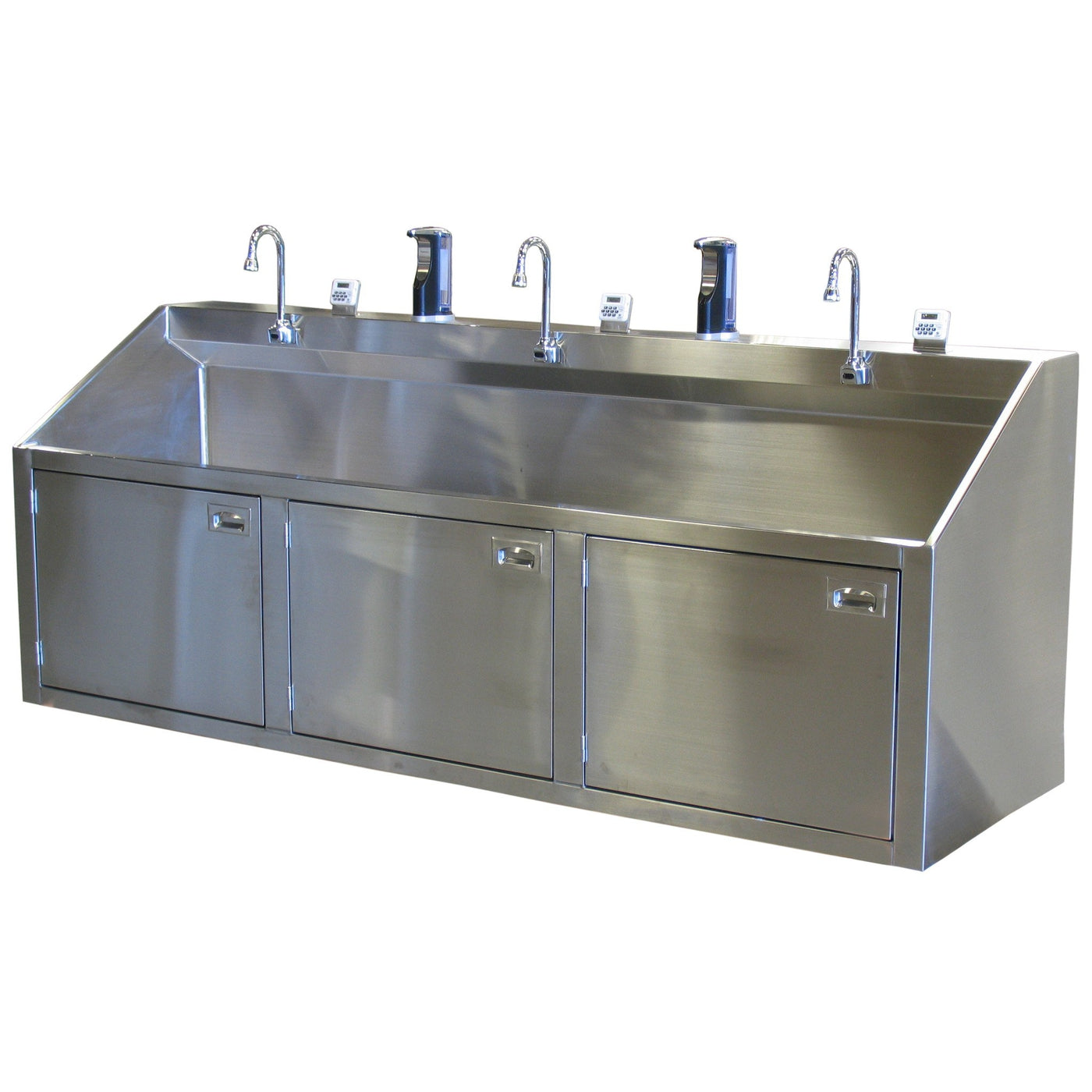 Triple Scrub Station-Sink Station-Mortech Manufacturing Company Inc. Quality Stainless Steel Autopsy, Morgue, Funeral Home, Necropsy, Veterinary / Anatomy, Dissection Equipment and Accessories