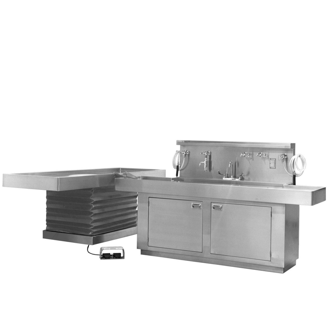 T-Shaped Large Necropsy Table-Necropsy Dissection Tables-Mortech Manufacturing Company Inc. Quality Stainless Steel Autopsy, Morgue, Funeral Home, Necropsy, Veterinary / Anatomy, Dissection Equipment and Accessories