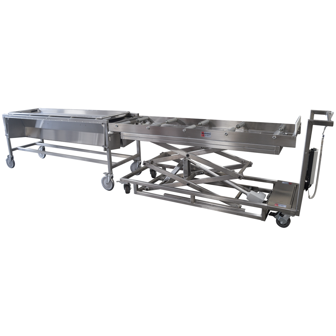 Hooded Dissection Table with Nylon Rollers-Anatomy Dissection Tables-Mortech Manufacturing Company Inc. Quality Stainless Steel Autopsy, Morgue, Funeral Home, Necropsy, Veterinary / Anatomy, Dissection Equipment and Accessories