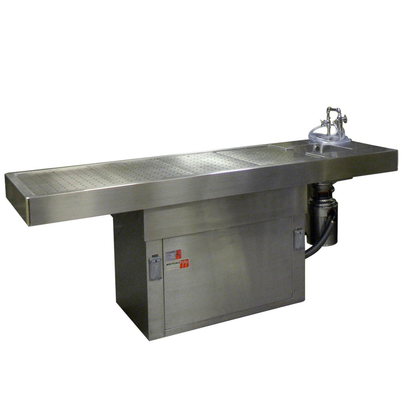 Adjustable Pedestal Autopsy Table-Pedestal Autopsy Tables-Mortech Manufacturing Company Inc. Quality Stainless Steel Autopsy, Morgue, Funeral Home, Necropsy, Veterinary / Anatomy, Dissection Equipment and Accessories