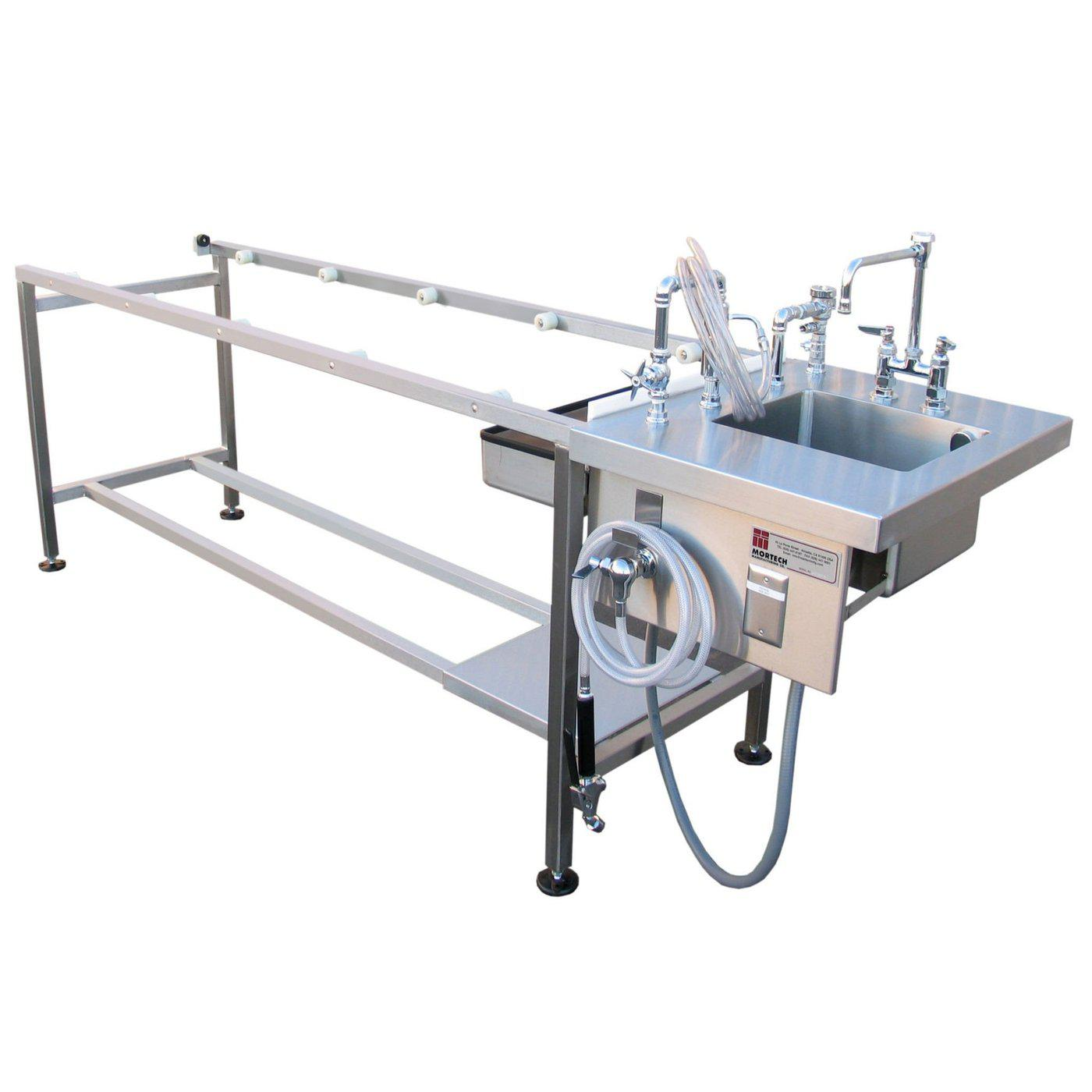 Autopsy Table with Rollers-Pedestal Autopsy Tables-Mortech Manufacturing Company Inc. Quality Stainless Steel Autopsy, Morgue, Funeral Home, Necropsy, Veterinary / Anatomy, Dissection Equipment and Accessories