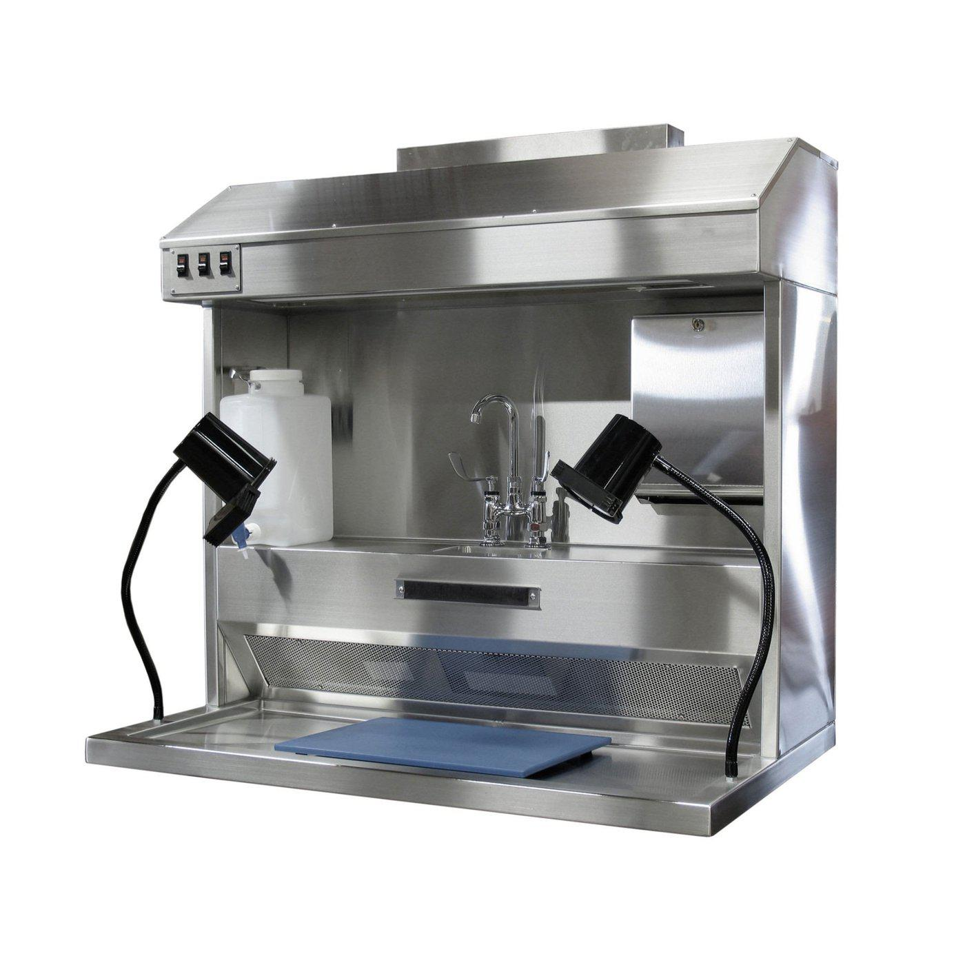 Countertop Pathology Workstation-Pathology Grossing Stations-Mortech Manufacturing Company Inc. Quality Stainless Steel Autopsy, Morgue, Funeral Home, Necropsy, Veterinary / Anatomy, Dissection Equipment and Accessories