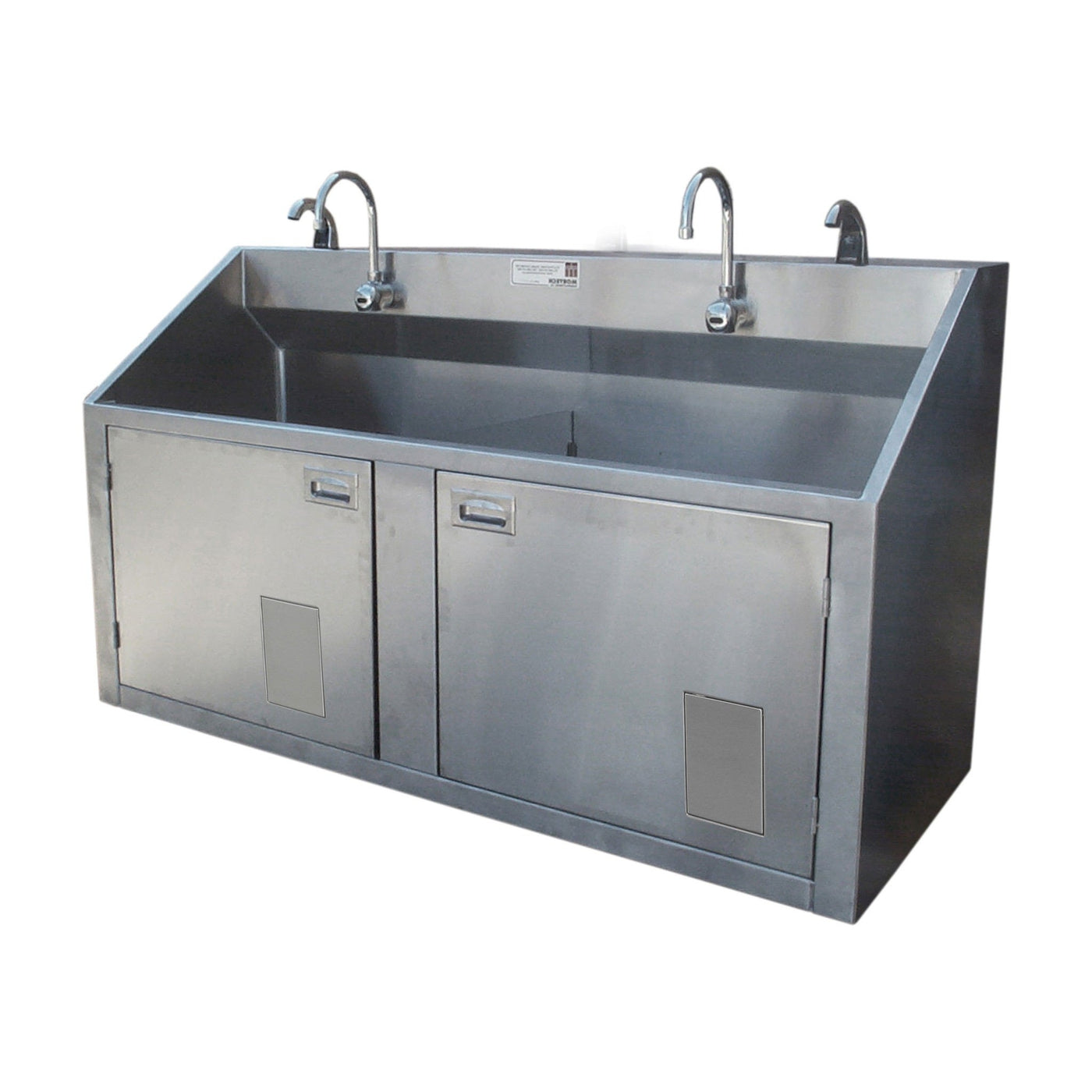 Double Scrub Station-Sink Station-Mortech Manufacturing Company Inc. Quality Stainless Steel Autopsy, Morgue, Funeral Home, Necropsy, Veterinary / Anatomy, Dissection Equipment and Accessories
