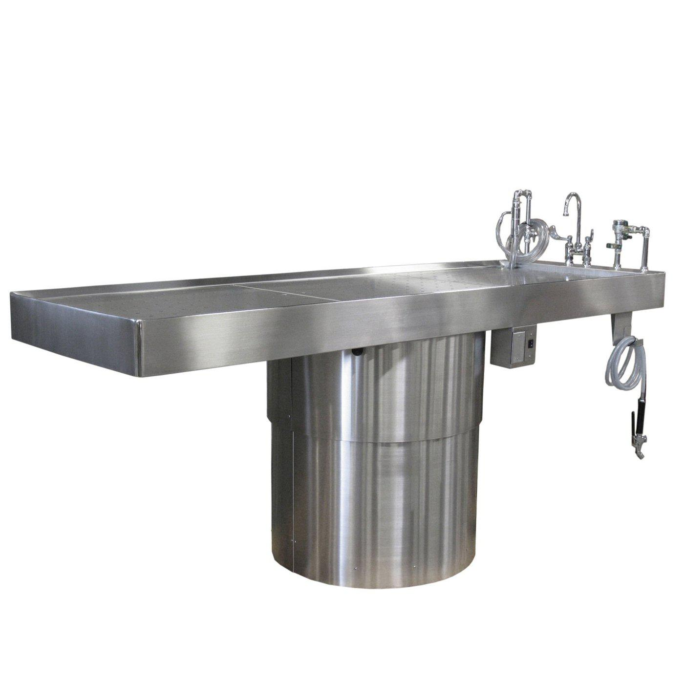 Elevating & Rotating Pedestal Autopsy Table-Pedestal Autopsy Tables-Mortech Manufacturing Company Inc. Quality Stainless Steel Autopsy, Morgue, Funeral Home, Necropsy, Veterinary / Anatomy, Dissection Equipment and Accessories