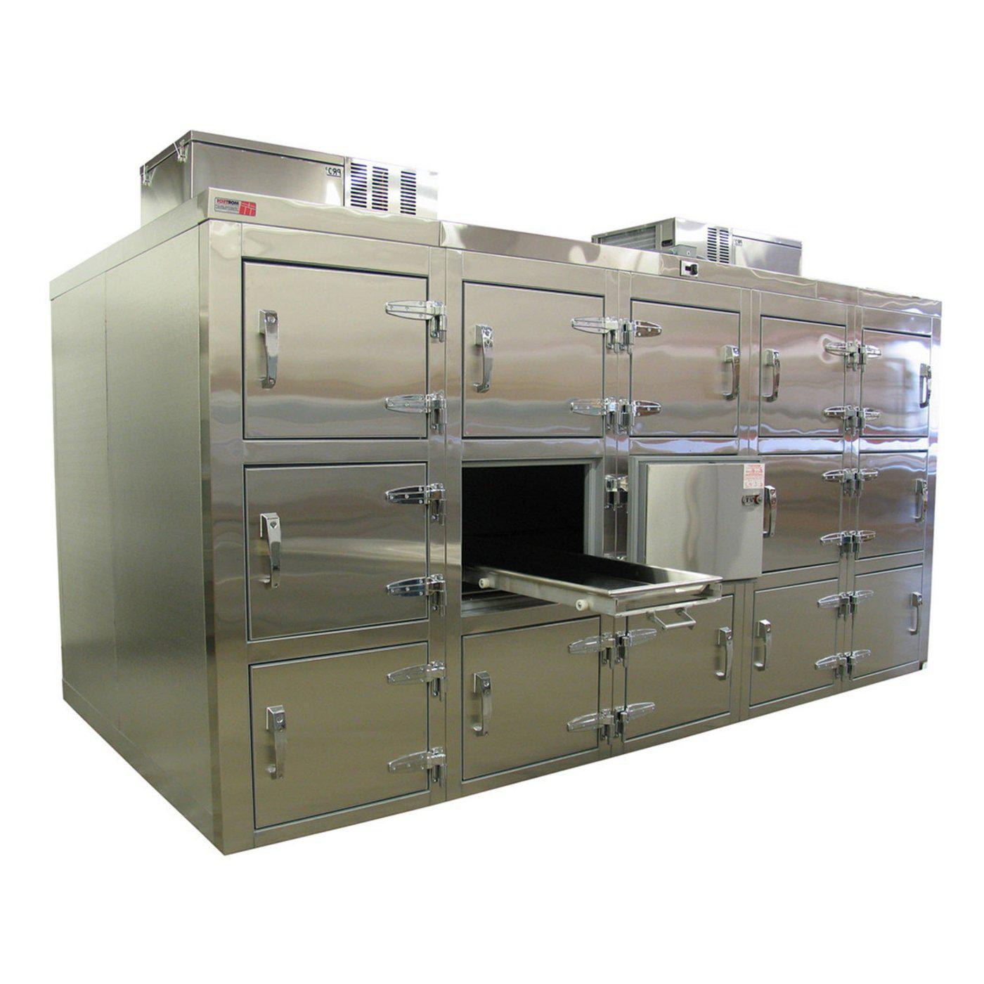 Fifteen Body Refrigerator-Refrigeration-Mortech Manufacturing Company Inc. Quality Stainless Steel Autopsy, Morgue, Funeral Home, Necropsy, Veterinary / Anatomy, Dissection Equipment and Accessories