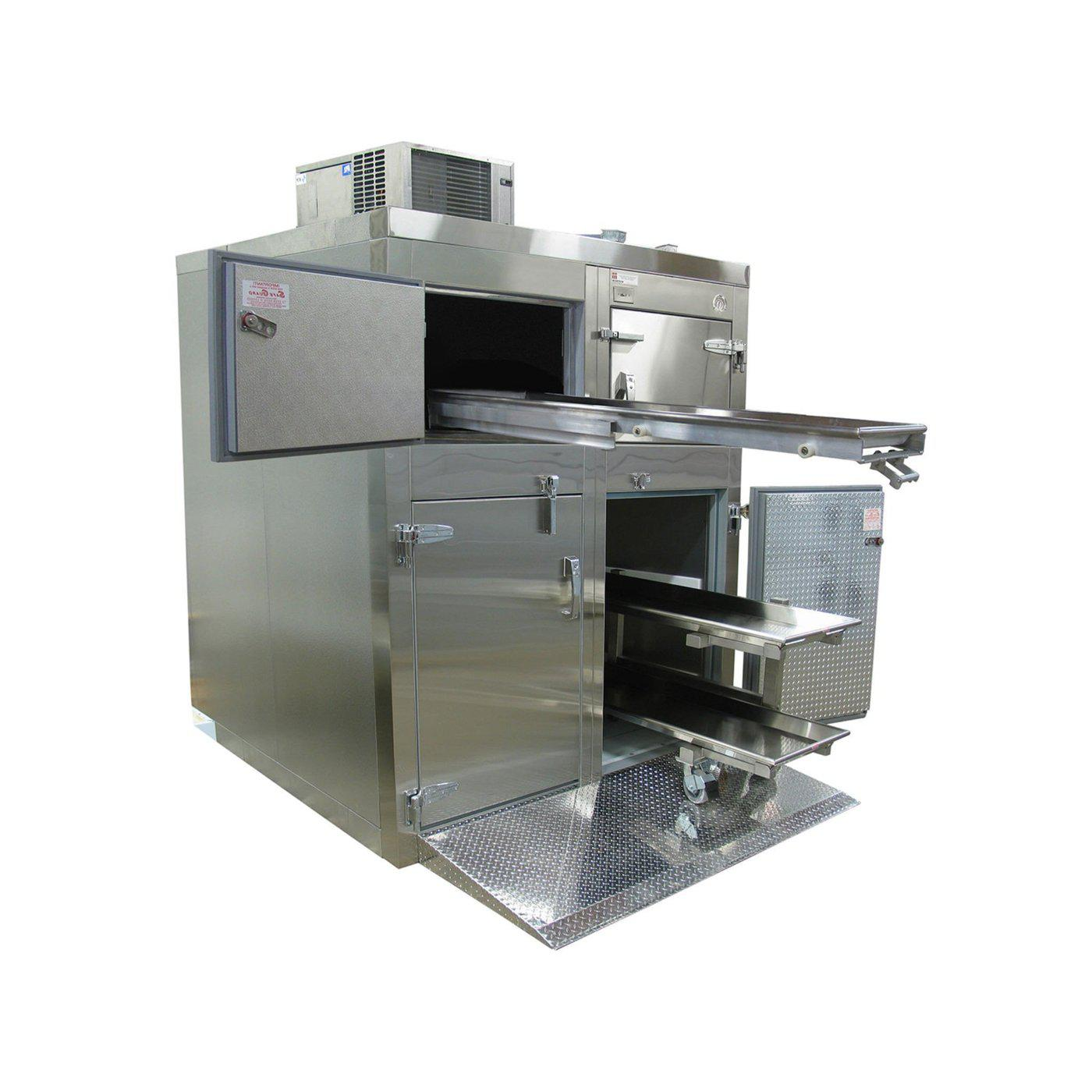 Four or Six Body Tiered Refrigerator-Refrigeration-Mortech Manufacturing Company Inc. Quality Stainless Steel Autopsy, Morgue, Funeral Home, Necropsy, Veterinary / Anatomy, Dissection Equipment and Accessories