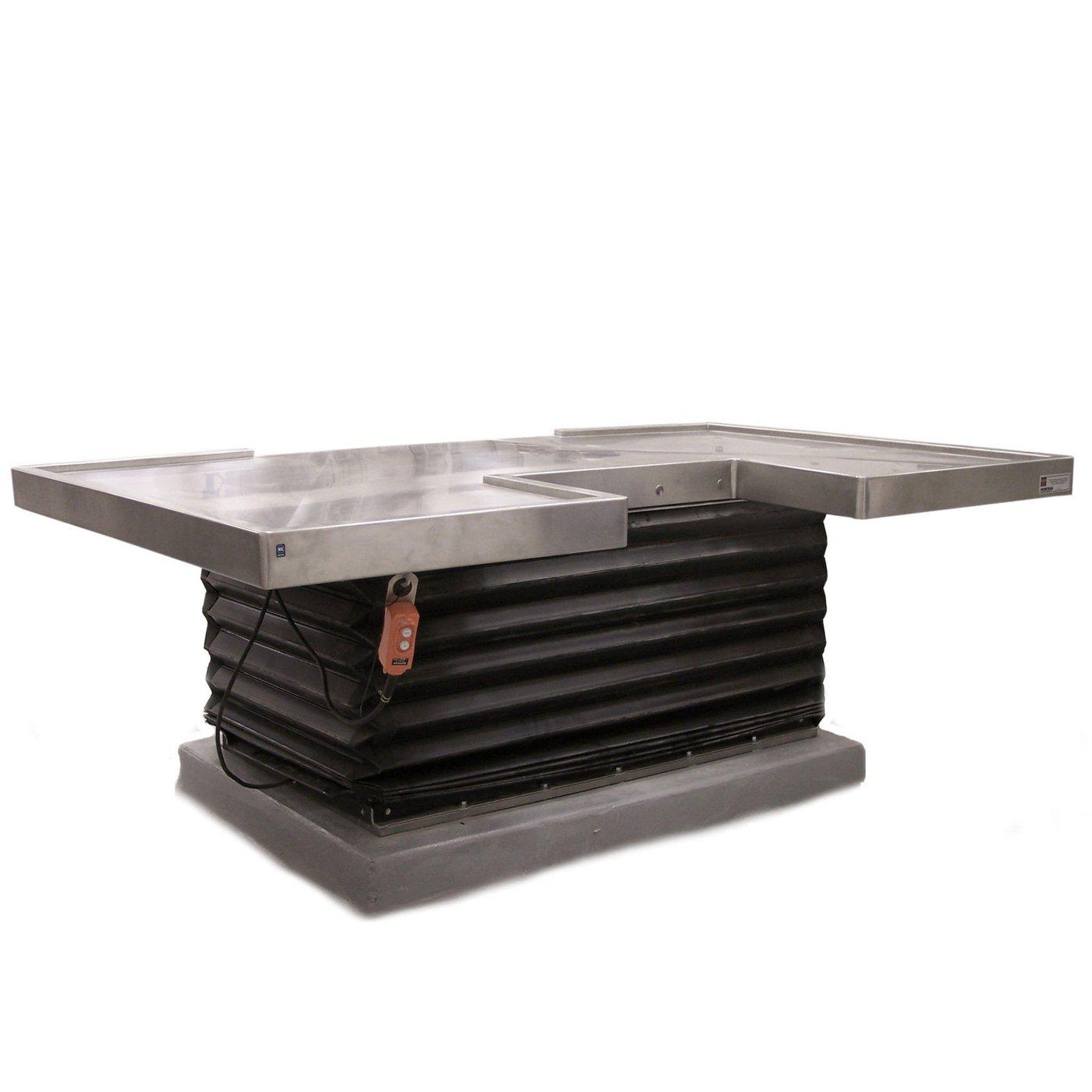 Large Hydraulic Necropsy Table-Necropsy Dissection Tables-Mortech Manufacturing Company Inc. Quality Stainless Steel Autopsy, Morgue, Funeral Home, Necropsy, Veterinary / Anatomy, Dissection Equipment and Accessories