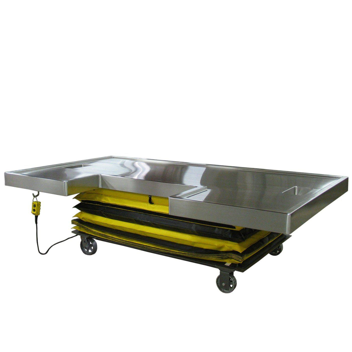 Mobile Hydraulic Necropsy Table-Necropsy Dissection Tables-Mortech Manufacturing Company Inc. Quality Stainless Steel Autopsy, Morgue, Funeral Home, Necropsy, Veterinary / Anatomy, Dissection Equipment and Accessories