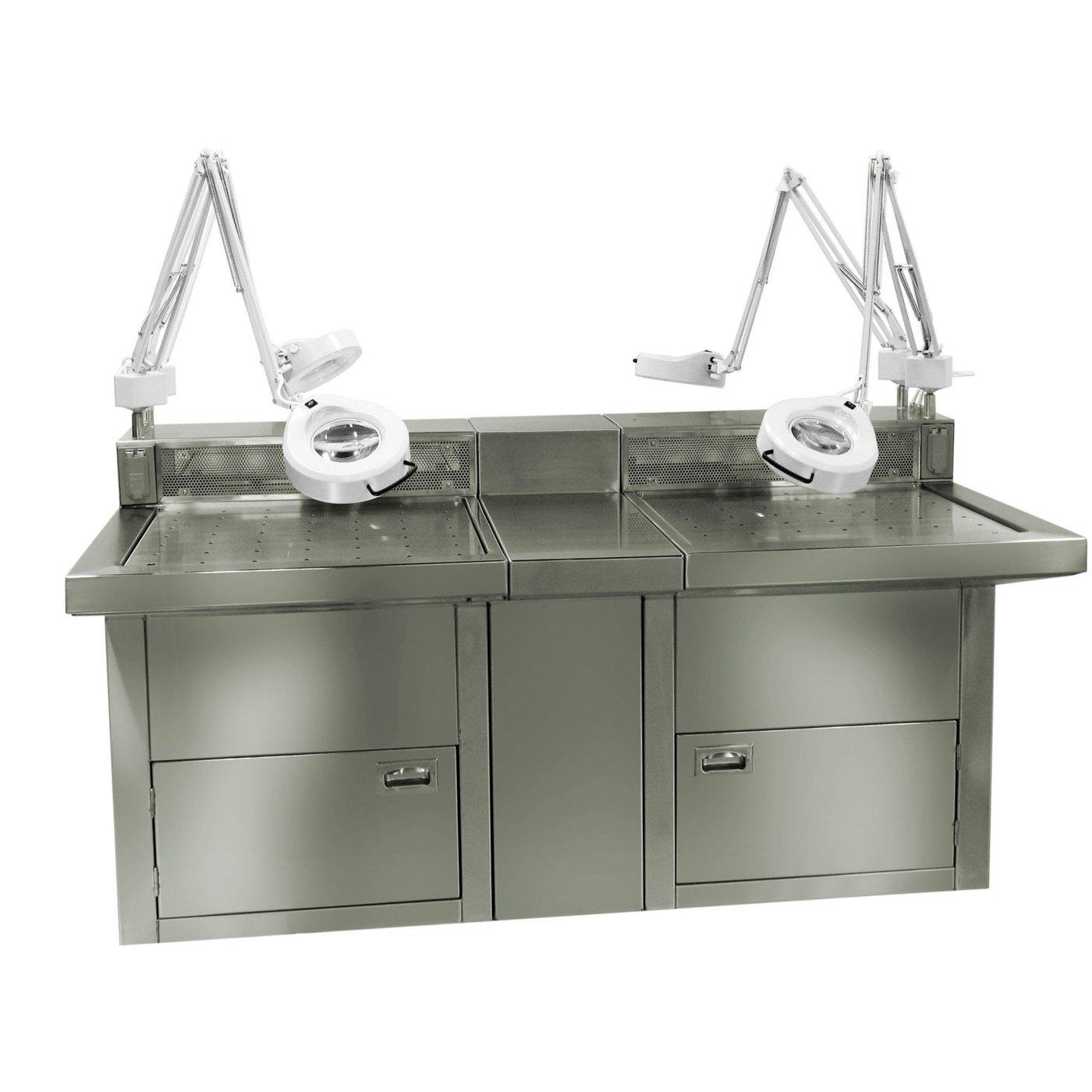 Multi-user Backdraft/Downdraft Station-Necropsy Dissection Tables-Mortech Manufacturing Company Inc. Quality Stainless Steel Autopsy, Morgue, Funeral Home, Necropsy, Veterinary / Anatomy, Dissection Equipment and Accessories