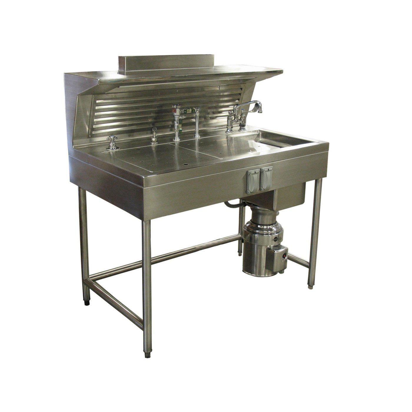 Pathology Workstation with Rear Exhaust-Pathology Grossing Stations-Mortech Manufacturing Company Inc. Quality Stainless Steel Autopsy, Morgue, Funeral Home, Necropsy, Veterinary / Anatomy, Dissection Equipment and Accessories