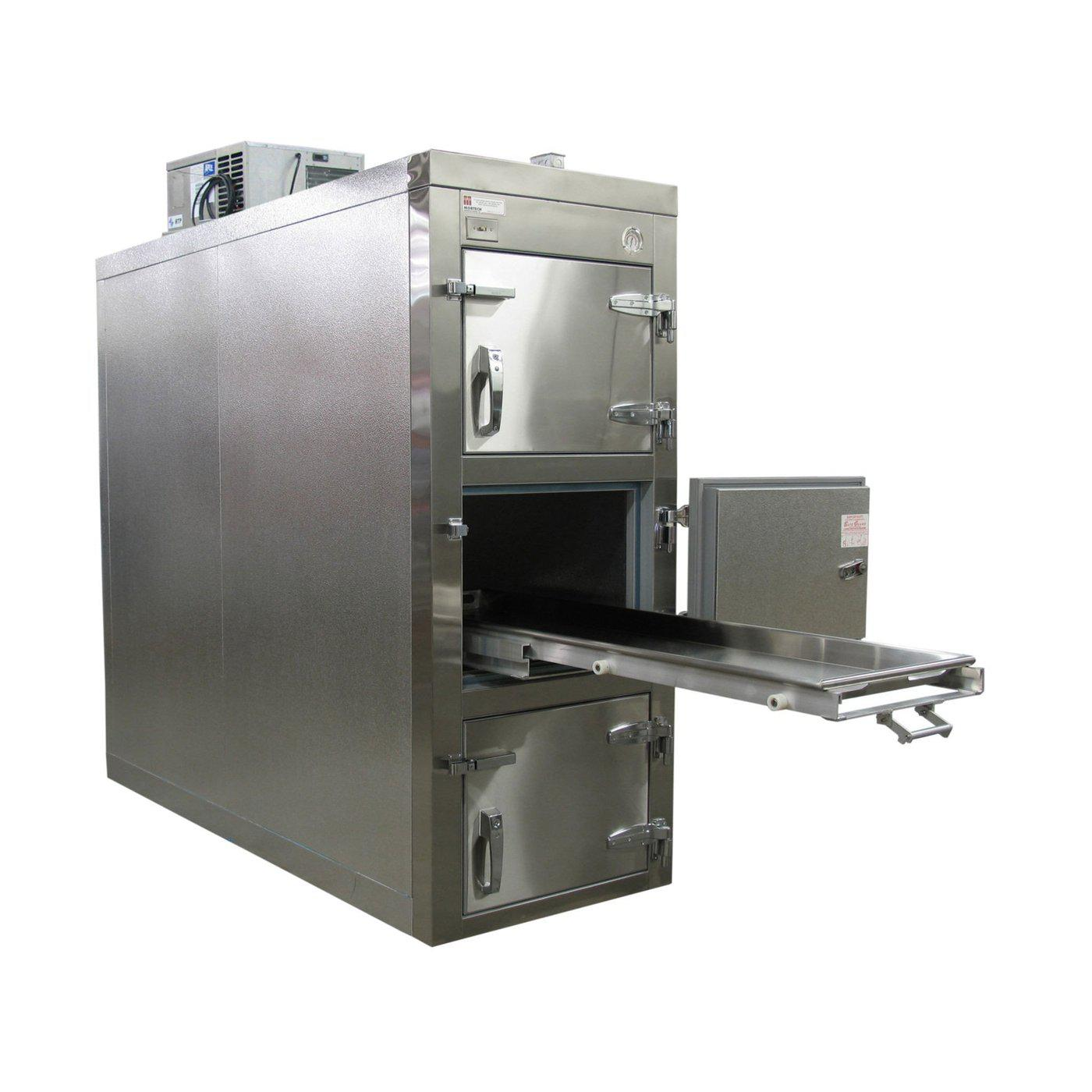 Premium Three Body Refrigerator-Refrigeration-Mortech Manufacturing Company Inc. Quality Stainless Steel Autopsy, Morgue, Funeral Home, Necropsy, Veterinary / Anatomy, Dissection Equipment and Accessories