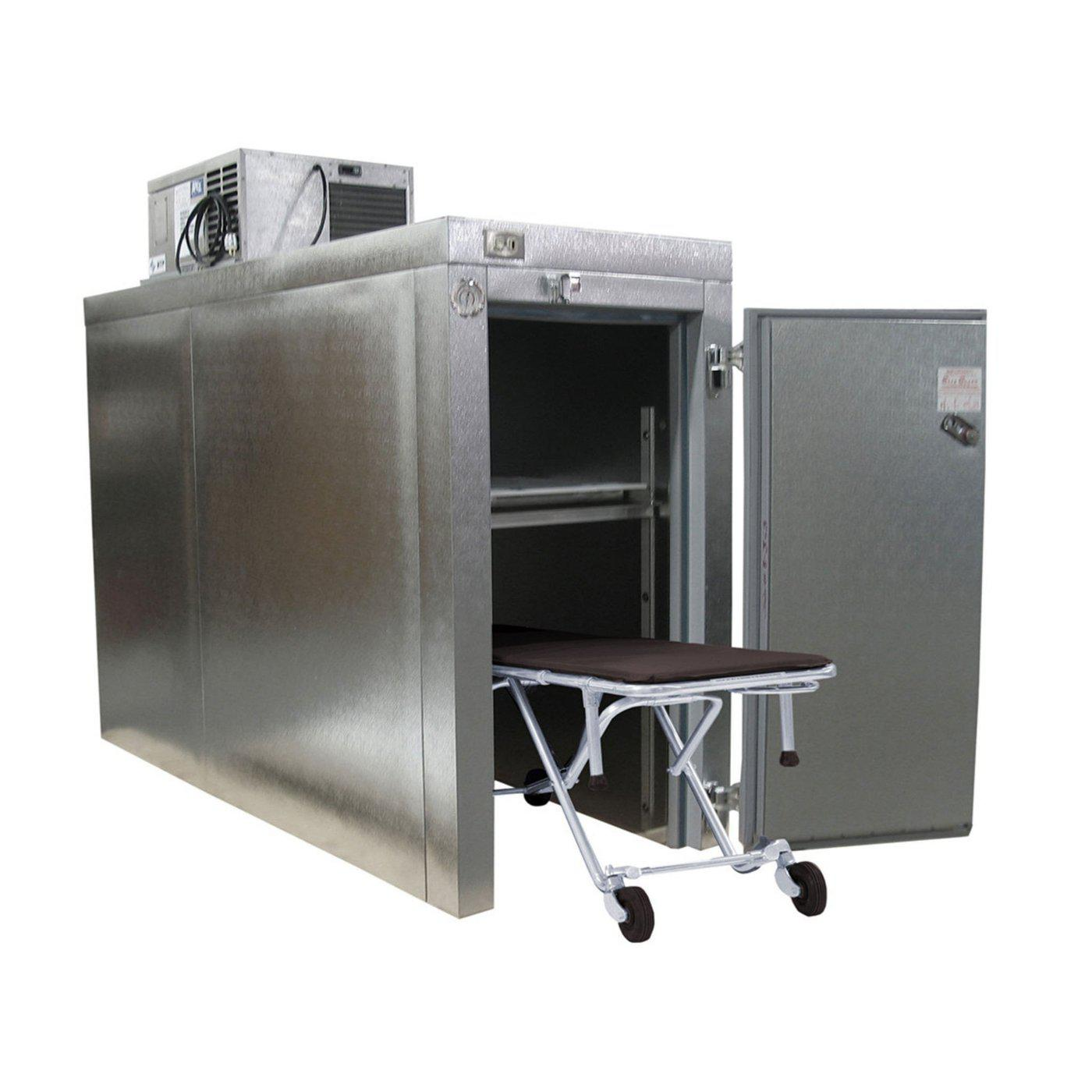 Roll-in Two Body Refrigerator-Refrigeration-Mortech Manufacturing Company Inc. Quality Stainless Steel Autopsy, Morgue, Funeral Home, Necropsy, Veterinary / Anatomy, Dissection Equipment and Accessories