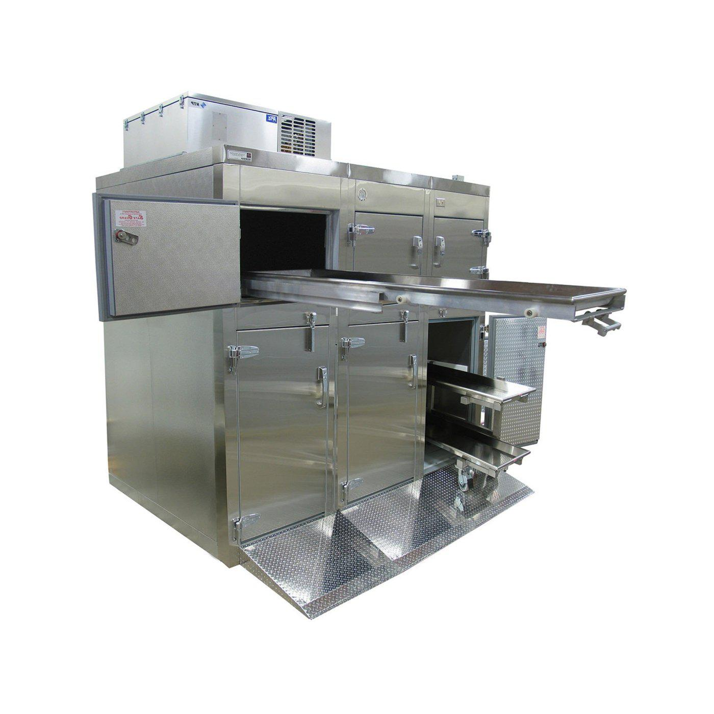 Six or Nine Body Tiered Refrigerator-Refrigeration-Mortech Manufacturing Company Inc. Quality Stainless Steel Autopsy, Morgue, Funeral Home, Necropsy, Veterinary / Anatomy, Dissection Equipment and Accessories