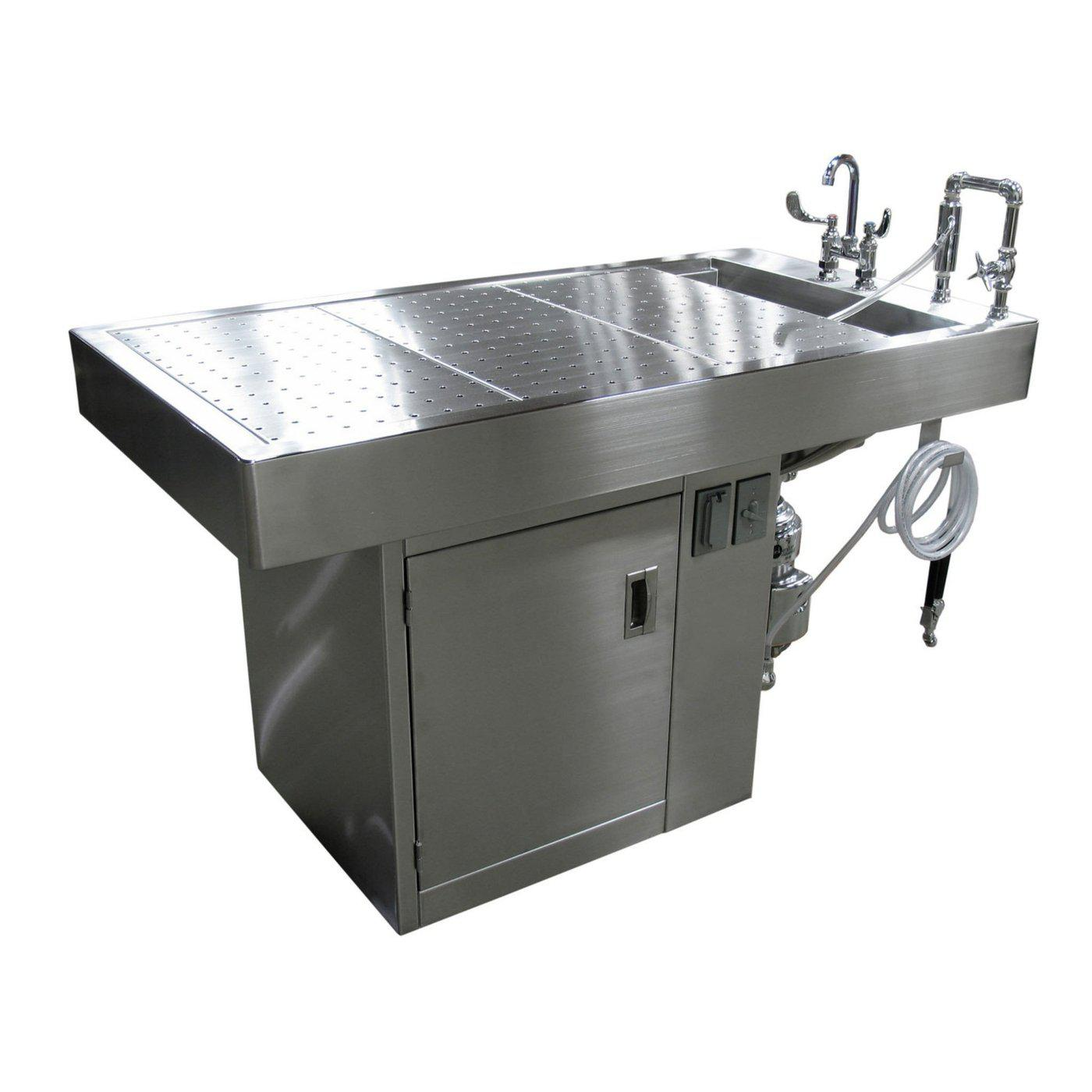 Small Animal Necropsy Table-Necropsy Dissection Tables-Mortech Manufacturing Company Inc. Quality Stainless Steel Autopsy, Morgue, Funeral Home, Necropsy, Veterinary / Anatomy, Dissection Equipment and Accessories