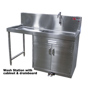 Wash Station with Cabinet-Sink Station-Mortech Manufacturing Company Inc. Quality Stainless Steel Autopsy, Morgue, Funeral Home, Necropsy, Veterinary / Anatomy, Dissection Equipment and Accessories