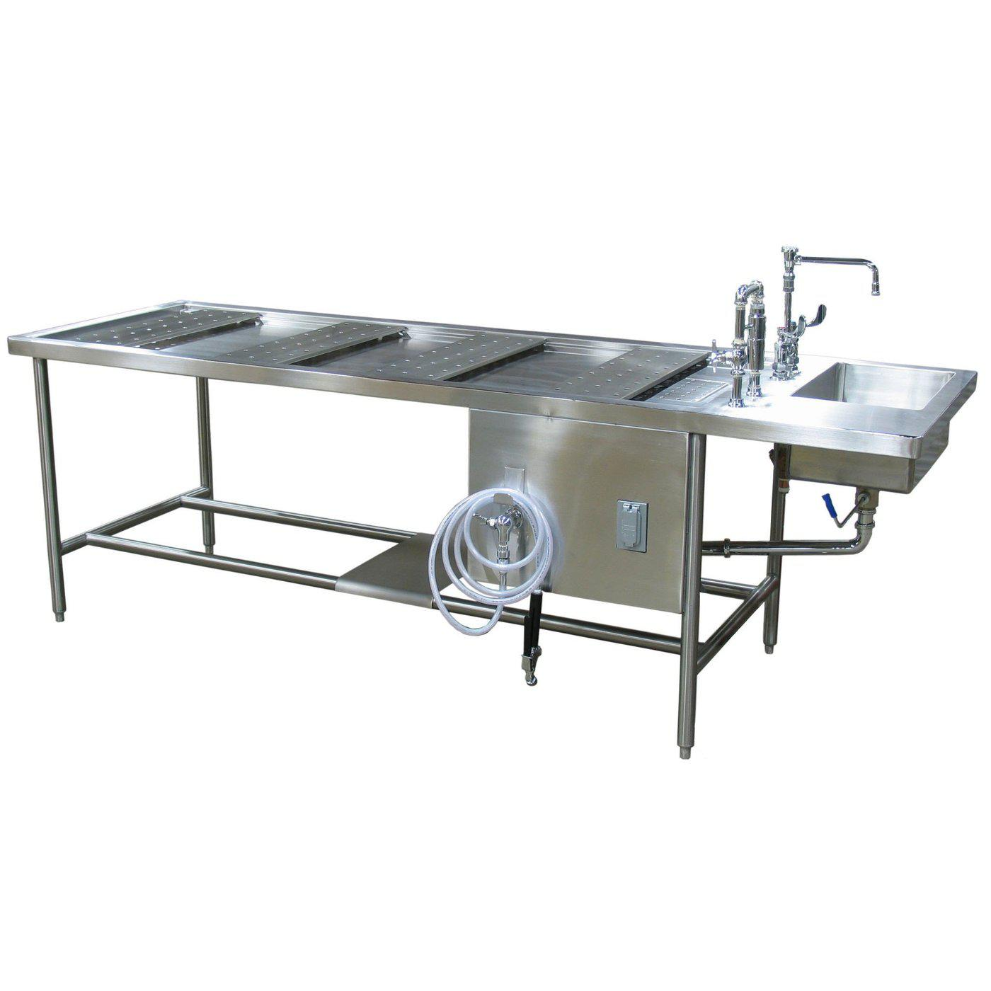 Standard Autopsy Table-Pedestal Autopsy Tables-Mortech Manufacturing Company Inc. Quality Stainless Steel Autopsy, Morgue, Funeral Home, Necropsy, Veterinary / Anatomy, Dissection Equipment and Accessories