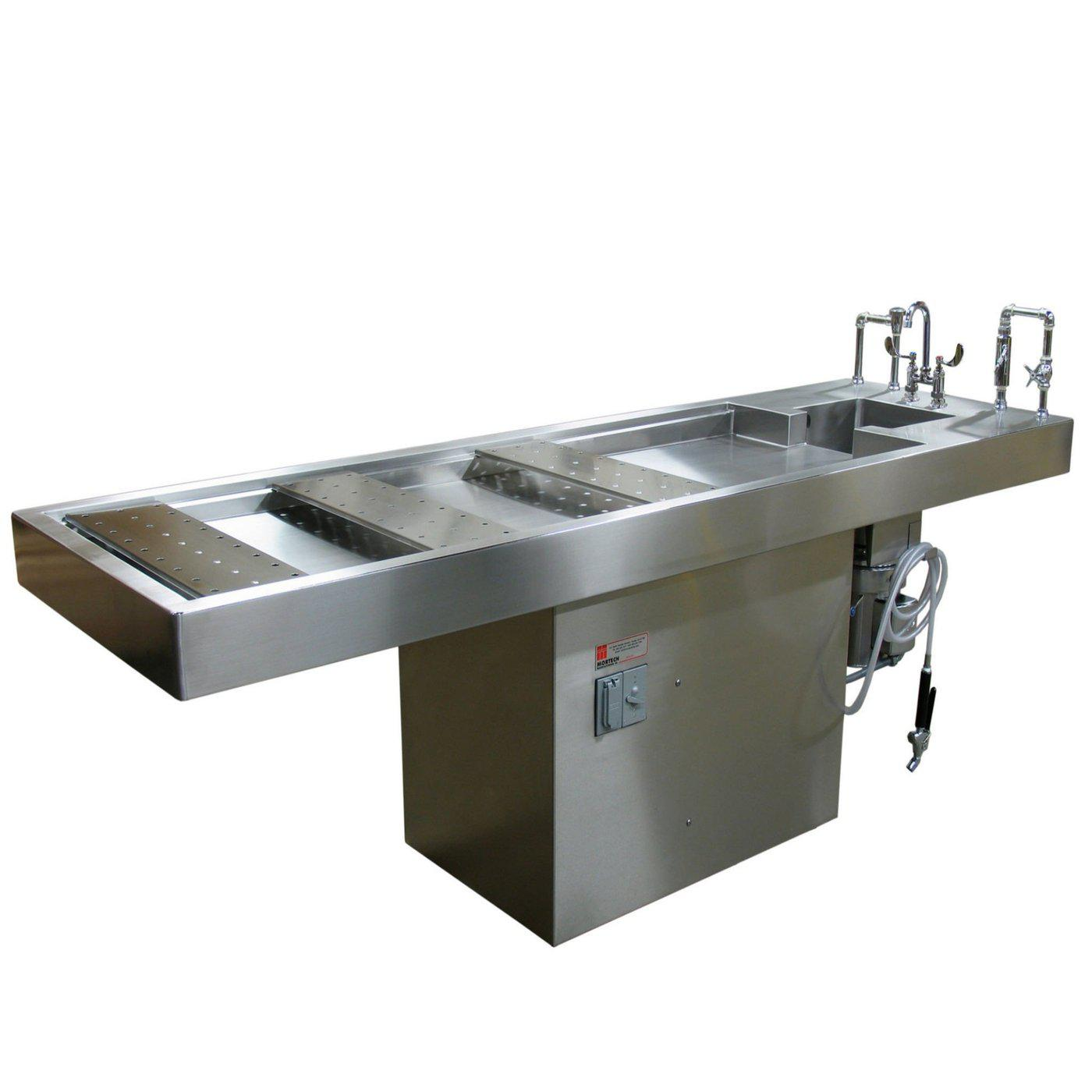 Stationary Pedestal Autopsy Table-Pedestal Autopsy Tables-Mortech Manufacturing Company Inc. Quality Stainless Steel Autopsy, Morgue, Funeral Home, Necropsy, Veterinary / Anatomy, Dissection Equipment and Accessories