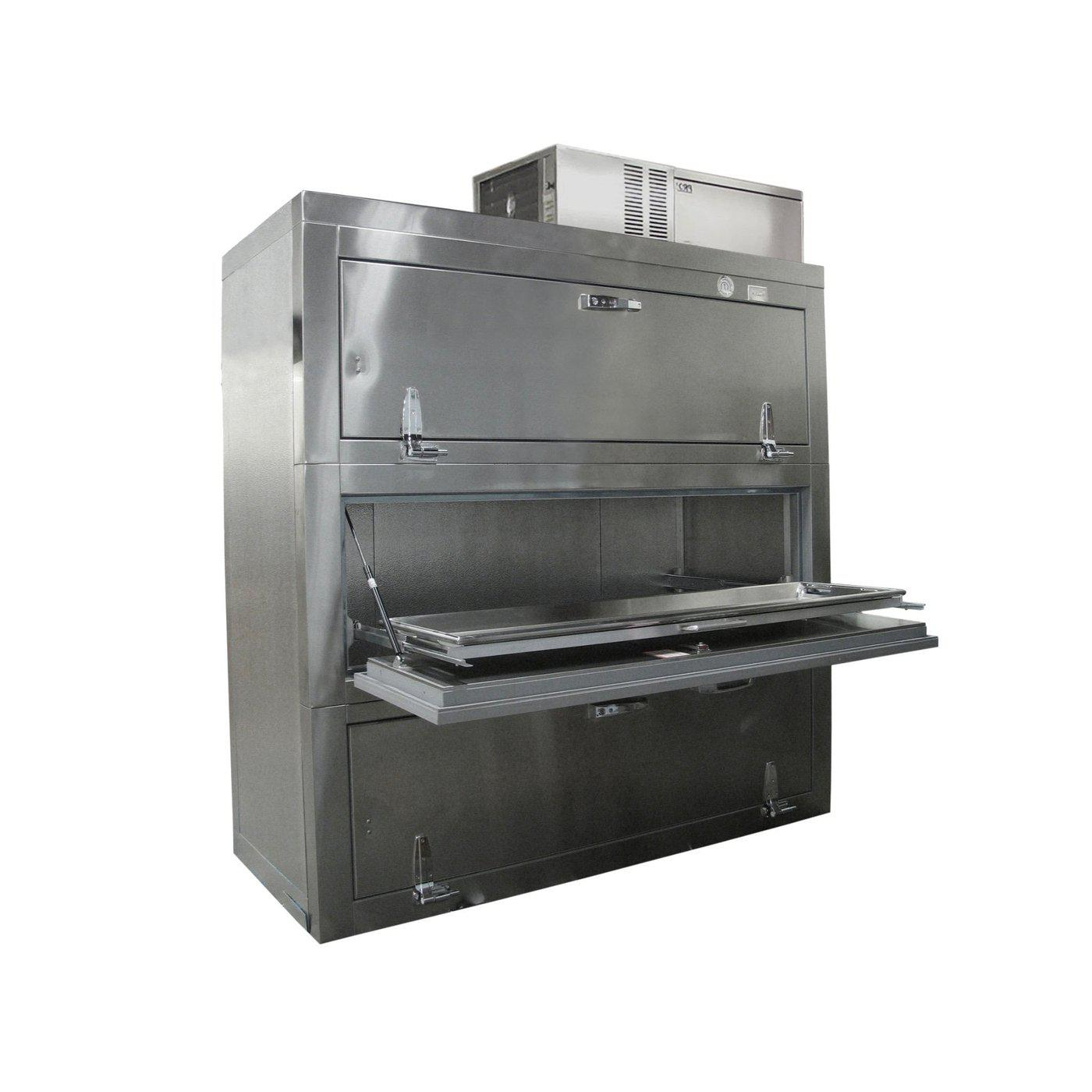 Three Body Side Acting Refrigerator-Refrigeration-Mortech Manufacturing Company Inc. Quality Stainless Steel Autopsy, Morgue, Funeral Home, Necropsy, Veterinary / Anatomy, Dissection Equipment and Accessories