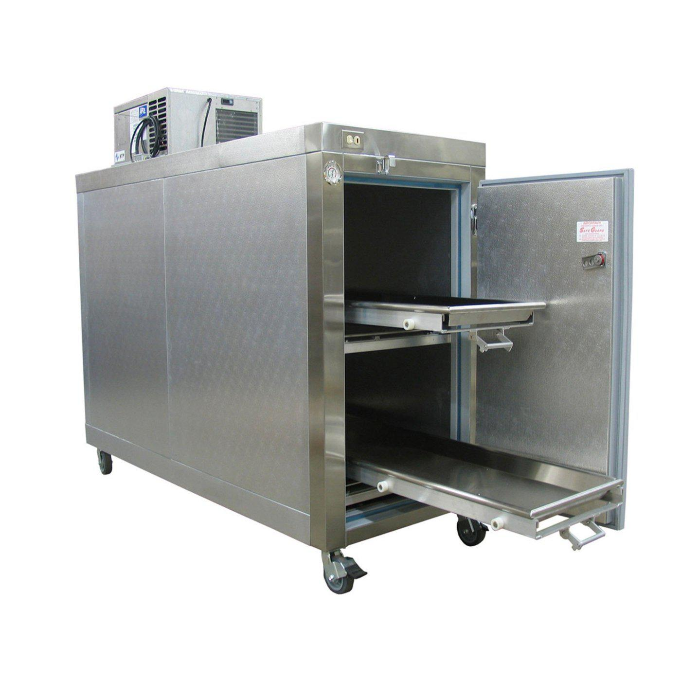Two Body Mobile Refrigerator-Refrigeration-Mortech Manufacturing Company Inc. Quality Stainless Steel Autopsy, Morgue, Funeral Home, Necropsy, Veterinary / Anatomy, Dissection Equipment and Accessories