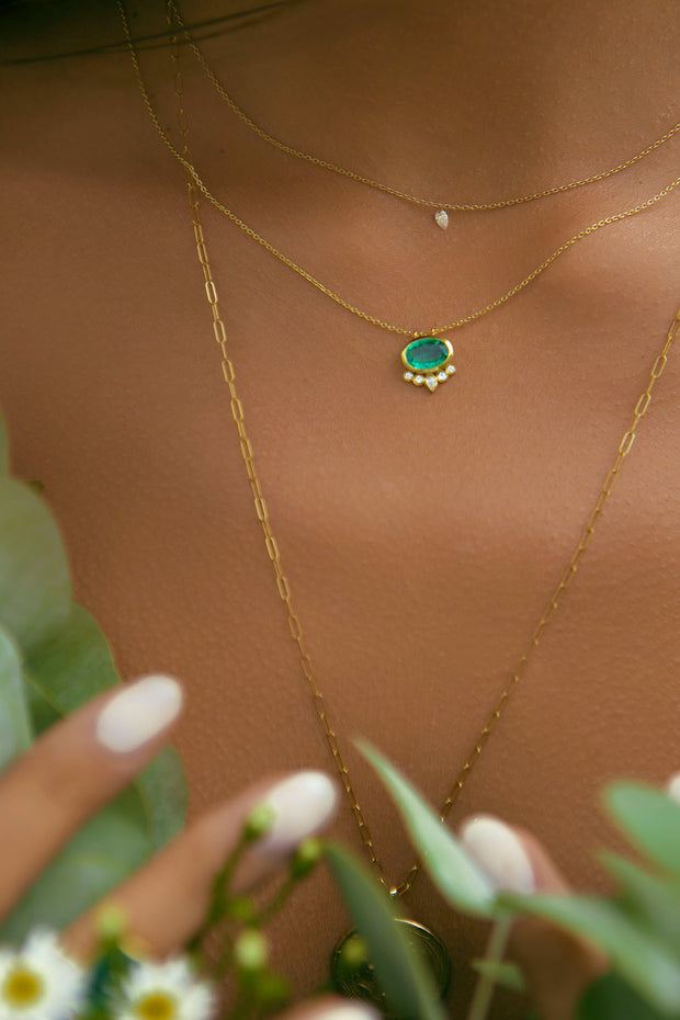Zambian Emerald Necklace w/Diamond