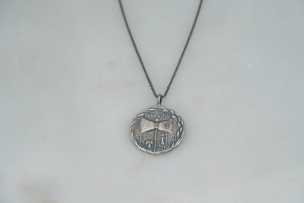 Oxidized Zeus and Hera Coin Necklace