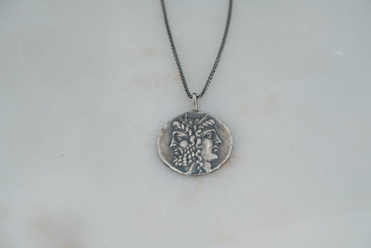 Oxidized Zeus and Hera Coin Necklace - Albisia Jewelry