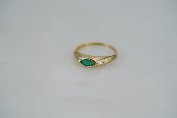 Marquise Cut Brazilian Emerald Ring - Albisia Jewelry