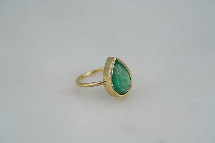 Pear Brazilian Emerald Ring - Albisia Jewelry