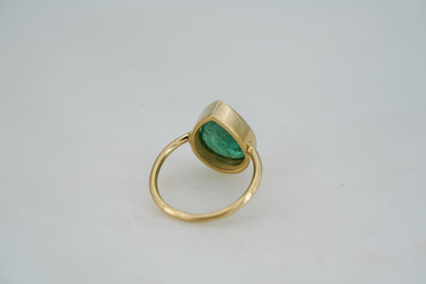 Pear Brazilian Emerald Ring