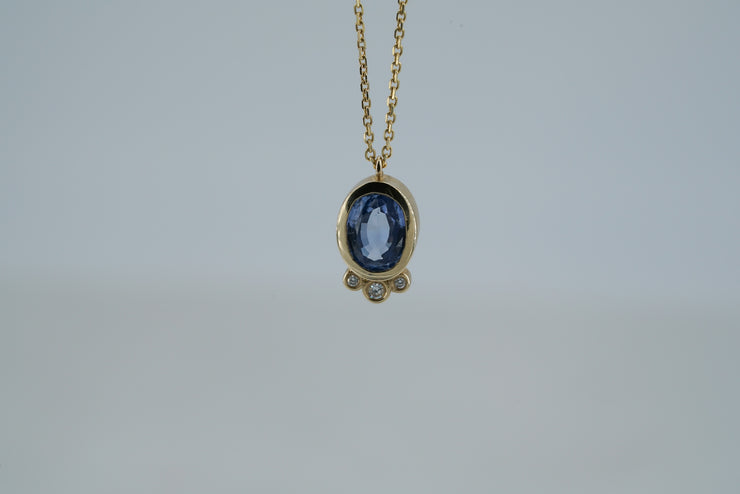 Sapphire Necklace with 3 Diamonds
