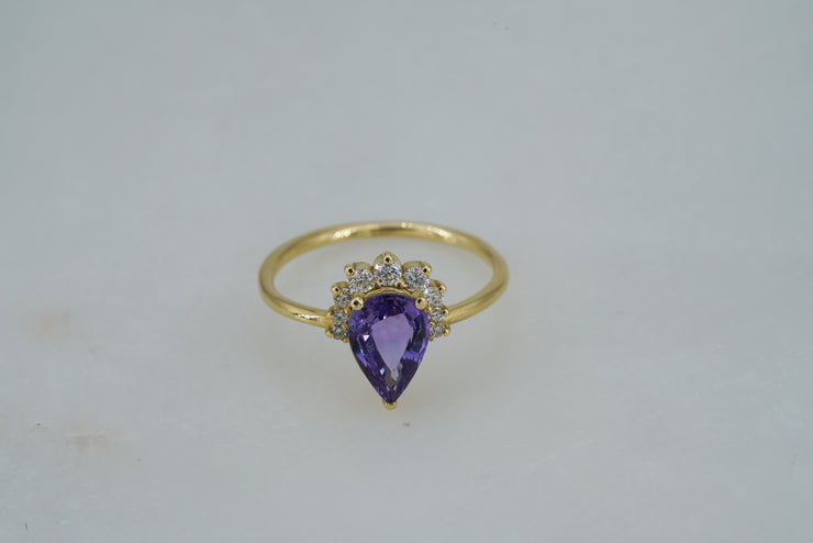 Ceylon Pear Sapphire with Diamonds Ring - Albisia Jewelry