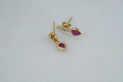 Diamond Bar with Ruby Studs