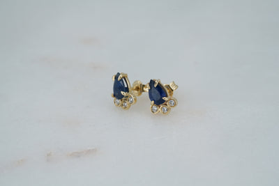 Pear Sapphire and Diamond Studs