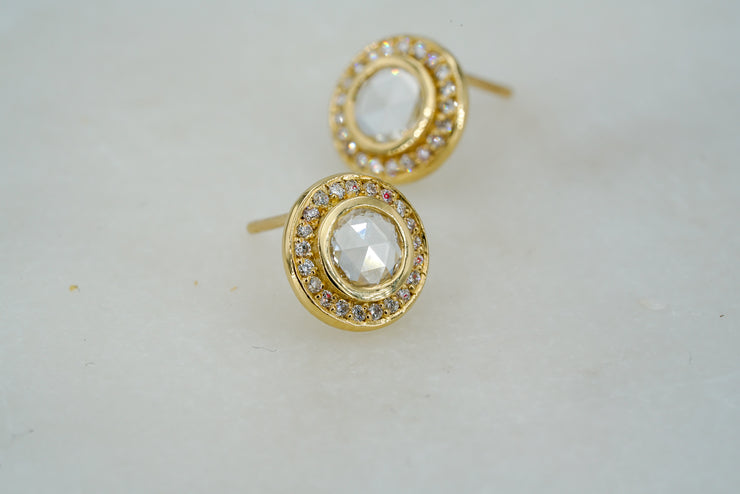 Rose Cut Diamond Halo Earrings - Albisia Jewelry