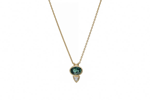 Green Sapphire and Diamond Necklace