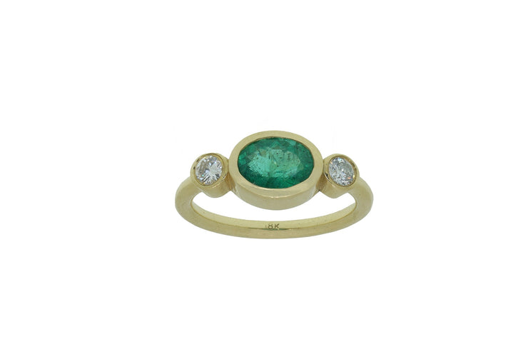 Oval Brazilian Emerald Ring with Diamonds
