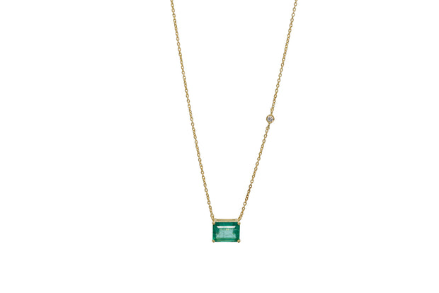 Emerald Cut Zambian Emerald Necklace with Diamond - Albisia Jewelry