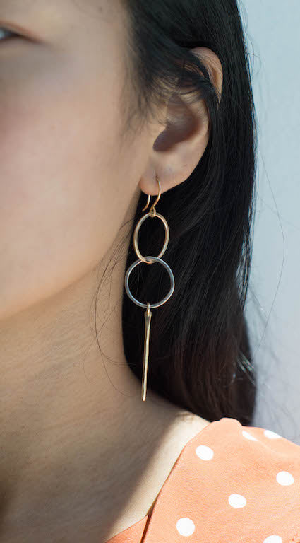 Double Loop Earrings - Sterling Silver and 14K Gold Filled on model