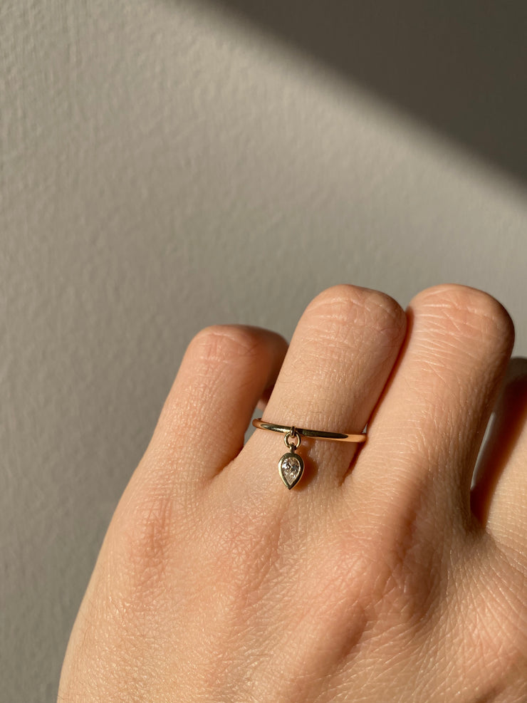 Floating Pear Diamond Ring - Albisia Jewelry