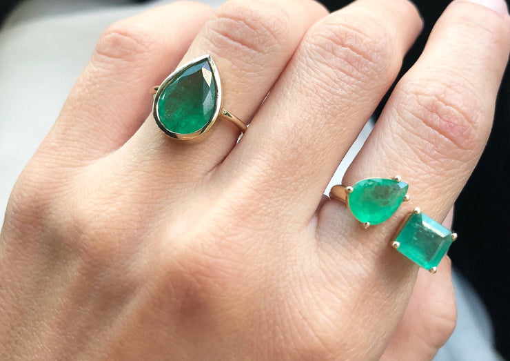 Two Emerald Ring - Albisia Jewelry