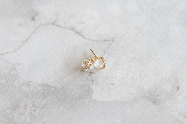 Herkimer Studs Clear - 14K Gold Filled