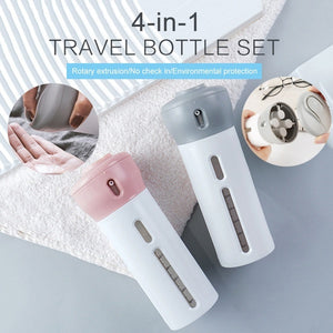 BUY 1 GET 1 Portable 4-in-1 Travel Bottle Dispenser (Pink & Gray)