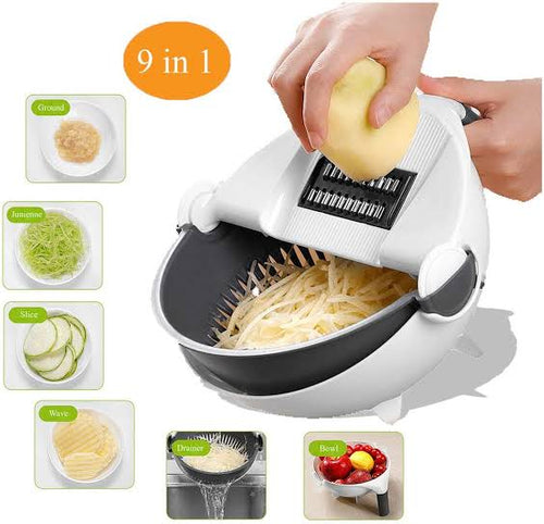 9-IN-1 EASY VEGGIE CUTTER with DRAIN BASKET