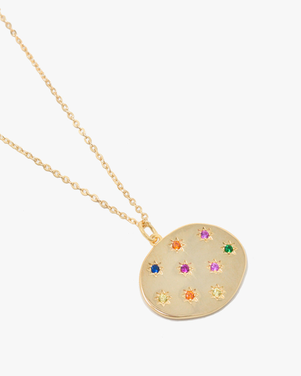 FLORENCE RAINBOW OVAL PENDANT NECKLACE