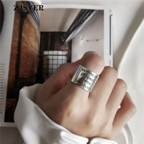 """Happiness Depends Upon Ourselves"" Adjustable Ring"