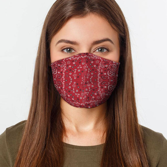 Red Bandana Face Cover Mask Made In USA